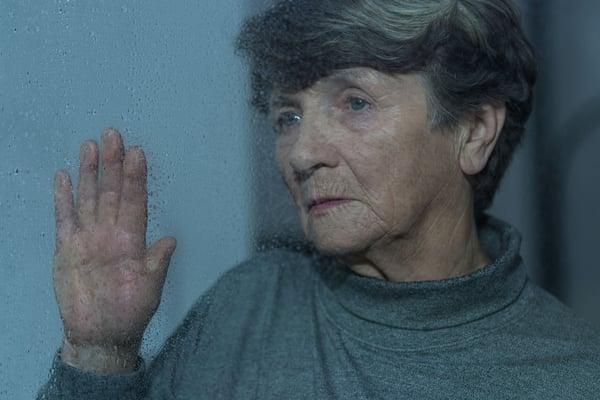 elder woman having seasonal depression isolation